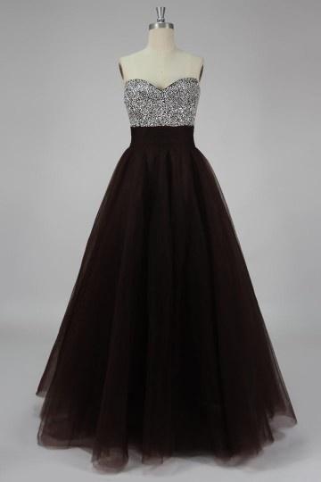 Elegantes Herz-Ausschnitt Tüll A-Linie Bodenlanges Abendkleid für Mollige Persun