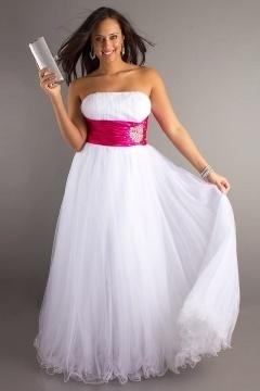 Strapless Color block sash Plus Size Dress for Prom