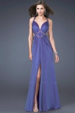 South Orange Bead Slit Criss Cross Back Prom Gown