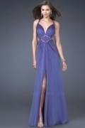 Beaded Slit Cut Out Back Low V neck A line Chiffon Prom Dress