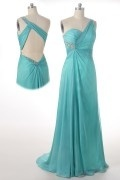 A line One Shoulder Beaded Slit Front Tencel Prom Dress