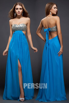Staines Strapless Blue Slit Side Prom Dress