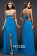 Beading Ruched Slit Front Strapless Chiffon Sheath Formal Dress