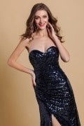 Ruched Slit Side Sweetheart Sequined Column Evening Dress