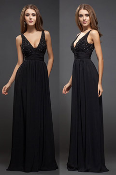 Stocksbridge Sleek Low V neck Black Evening Gown