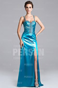High Slit Spaghetti Strap A line Purple Satin Prom Dress