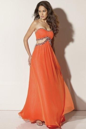 Beaded Strapless A line Orange Chiffon Prom Dress