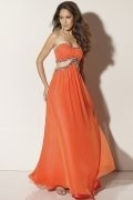 Beaded Strapless A line Orange Chiffon Prom Dress