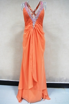 Stourbridge Orange Low V neck Prom Dress