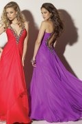 Beading Low V neck A line Chiffon Prom Dress