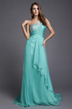 A line One Shoulder Beaded Mint Tencel Prom / Evening Dress