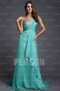One Shoulder Beading A-line Tencel Prom Dress