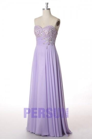 Lilac purple sweetheart prom dress