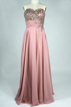 Beaded Top Sweetheart Chiffon Skin pink A line Formal Dress