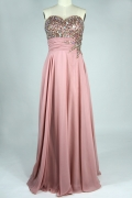 A line Sweetheart Beaded Ruched Blue Chiffon Prom / Evening Dress