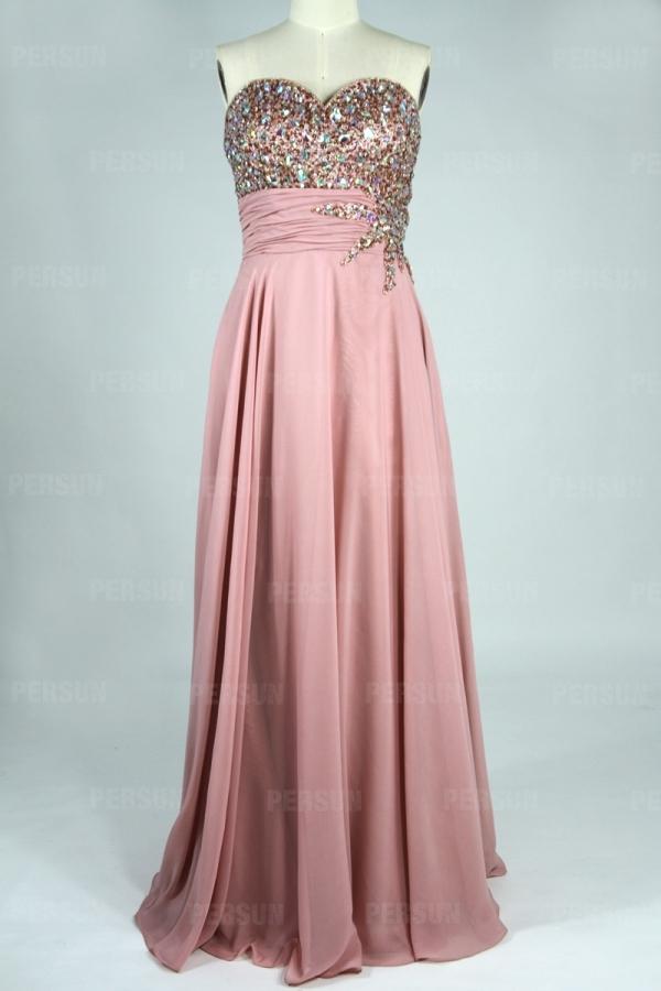 Klassisch lange Kleider Herz-Ausschnitt A-Linie Perle Abendkleid