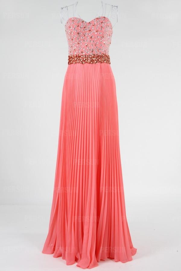 rosa A-Linie Herz-Ausschnitt Perle lang gefalten Abendkleid aus Chiffon