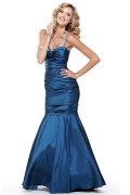 Ruched Spaghetti Sweetheart Mermaid Taffeta Prom Dress