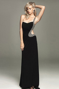 Sunderland One Shoulder Cut Out Black Column Prom Gown