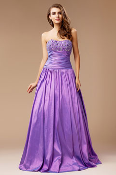 Sutton Coldfield Purple Ruched Sweetheart Graduation Dress