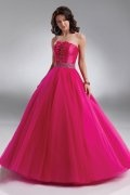A line Strapless Beaded Applique Tulle Ball Gown Prom Dress