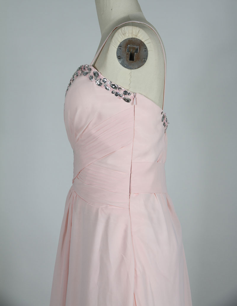 chiffon pink evening dress