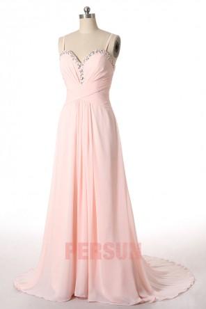 Robe longue de bal rose pâle plissée bustier à paillettes aux fines bretelles