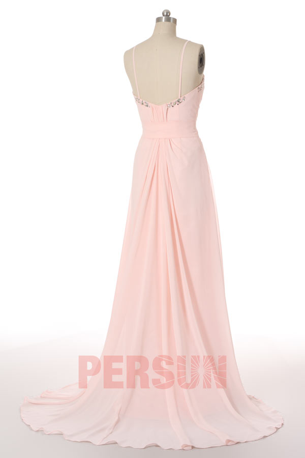 Long Pale Pink A line Formal Gown with Straps in Chiffon