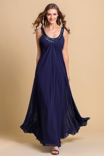Dressesmall Beaded Pleated Round Chiffon A line Formal Dress