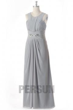 Robe de soirée mousseline argentée longue à col rond jupe drapée