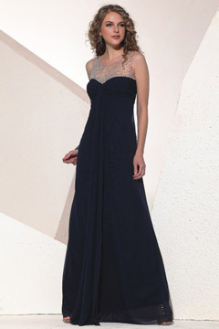 Swindon Black Round Neck Semi sheer Graduation Dress