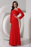 Sheath Strapless Ruched Chiffon Prom / Evening Dress with Long Sleeves Wrap
