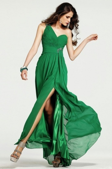 Tadcaster Sexy Chiffon Green One Shoulder Slit Side Prom Dress