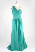 Sexy Sweetheart One Shoulder Slit Side Green Chiffon Prom / Evening Dress