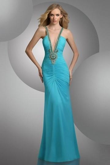 Sexy Meerjungfrau tiefer V-Ausschnitt Perlen verziertes blaues ...
