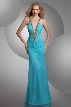 Sexy Deep V Sleeveless Beading Sheath Chiffon Floor Length Prom Dress