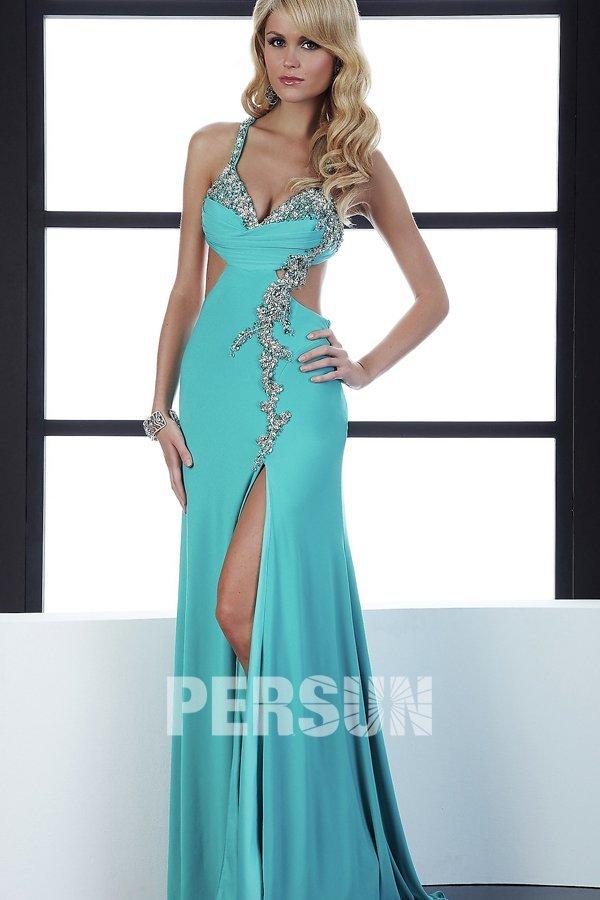 boutique robe bal bleu clair fendue sur le coté