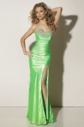Beaded Sweetheart Slit Side Green Sheath Satin Prom Dress