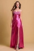 Beaded Sweetheart Slit Front Lace Up Back Satin Prom Dress