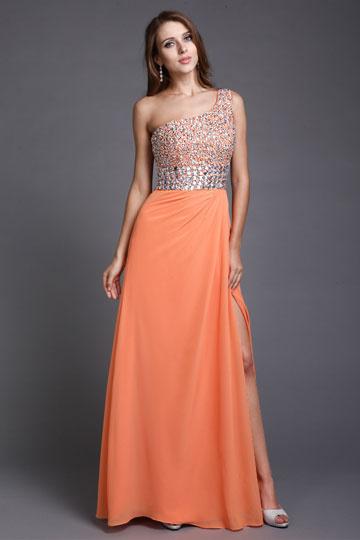 Dressesmall Sequined One Shoulder Chiffon Orange Column Evening Dress