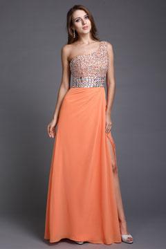 Sequined One Shoulder Chiffon Orange Column Evening Dress