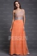 Sequined One Shoulder Chiffon Orange Column Evening Dress