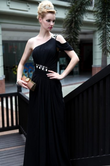 Sheath One Shoulder Beaded Black Chiffon Prom Dress