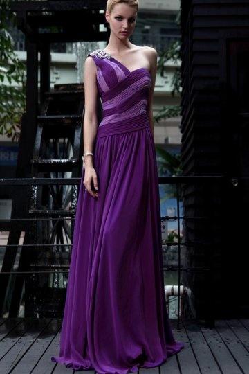 Vestido de Fiesta de baile de Gasa púrpura con Solo Hombro Abalorio Corte Recto