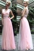 Ruched Beading V neck Tulle Pink Column School Formal Dress
