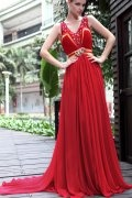 Beaded Ruched V neck Chiffon Red A line Formal Dress