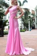 Beaded Ruched One Shoulder Chiffon Sheath School Formal Dress