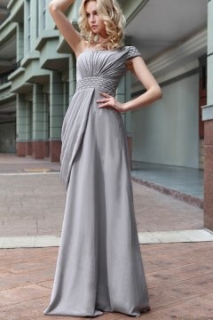 Tetbury One Shoulder Ruched Grey Graduation Dress