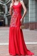 Vestido de Fiesta de baile de Satén Rojo con Escote Alto Bordado Corte Sirena