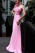 Applique Beaded One Shoulder Chiffon Sheath School Formal Dress